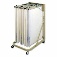 Safco Steel Sheet File Mobile Rack 12 Hanging Clamps 27w x 37 1/2d x 61 1/2h