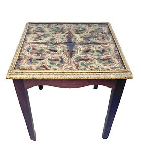 Decorative Peruvian Wood End Table With Art Deco Top & Gold Accents.
