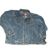 Vintage Wrangler Jean Jacket Blue Denim Trucker Ranch Western USA Mens Sz XL