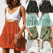 Fashion Women Solid Ruffles Bandage Lace Up Short Skirt Casual A-Line Pleated I