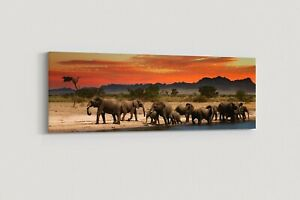 herd of elephants african landscape at sunset canvas picture print panoramic