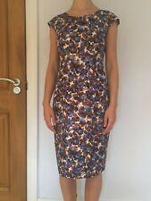Women's / Ladies designer MARILYN MOORE LONDON silk vintage print dress SIZE 8