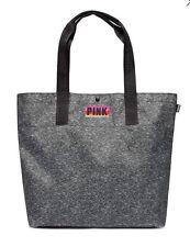 Victoria Secret PINK Logo Straps Black Marl Tote Shoulder Bag Beach Gym Shopper