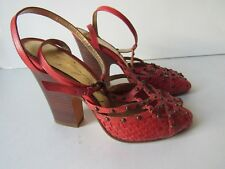 Vince Camuto Imagine Women 6 Heel Stappy Sandal Woven Leather w/ Studs Coral