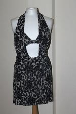 Karen Millen BNWT Multicoloured Leopard Print Drape Open Back Mini Dress Size 14