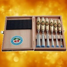 Two Cherries Set of 6 Wooden Handled Chisels in Wooden Box 500-1561