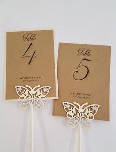 New 2019 Personalised Wedding Kraft Table Numbers with kraft or pearl backing