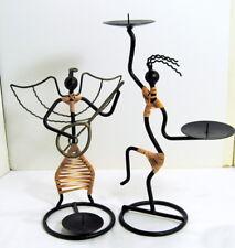 Candle Holders African Dancer Angel Wicker Wrap Art Metal Iron Frame Folk Art