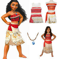 Kids Girl Costume Moana Princess Cosplay Fancy Dress Necklace Party Outfits Set