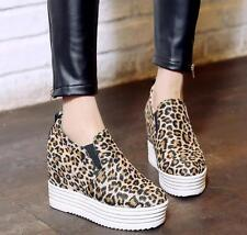 Womens Leopard Print Wedge Hidden Heel Loafers Slip On Casual Shoes Creepers New