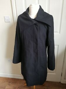 Size 12 Jaeger Black Wool Mid Length Winter Trench Coat Parka