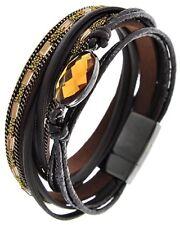 Multi Strand Brown Leatherette Suede & Cord Wrap Bracelet Magnetic Closure