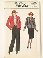 Vintage 80's Vogue NEW UNCUT Jacket, Skirt Pants Sz 14 16 18 Sewing Pattern 9386