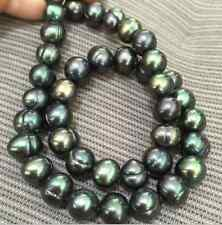baroque 10-11 mm natural Tahitian black green pearl necklace 18 inch 14 k gold