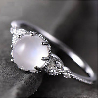 Women's Silver 925 Jewelry Engagement Ring Moonstone Gift For Anniversary