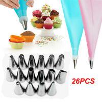 24* Nozzle Silicone Icing Piping Cream Pastry Bag Kit Cake Decor Baking Tool Set