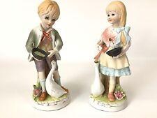 """Vintage Set LENWILE ARDALT BISQUE Porcelain BOY & GIRL Feeding Goose 7.5"""" High"""