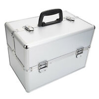 "Pro 14""x9""x10""Aluminum Makeup Train Case Jewelry Box Cosmetic Organizer Silver"