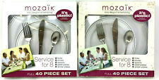 (2) Mozaik Service For 8 Full Size Plates & Cutlery 40 Piece Set EACH