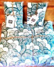 Pottery Barn Gemma Floral Reversible Super Pouf Comforter 2 Shams Sea Blue Queen