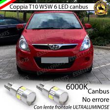 COPPIA LUCI DI POSIZIONE T10 W5W 6 LED HYUNDAI I20 I 1 CANBUS NO ERRORE 6000K