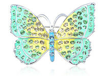 Diamante Crystal Green Yellow Jewelry Majestic Butterfly Insect Pin Brooch Jewel