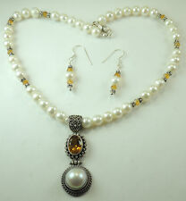 Necklace & Earrings Set with Pearls Quartz & Crystal Sterling Silver Wedding