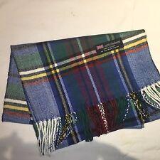 100% Cashmere Winter Scarf Scarve Scotland Warm Plaid Blue, Red White Wrap Shawl