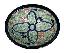 #003 LARGE BATHROOM SINK 21X17 MEXICAN CERAMIC HAND PAINT DROP IN UNDERMOUNT