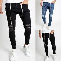 Mens Skinny Ripped Jeans Pants Distressed Denim Slim Fit Biker Frayed Trousers