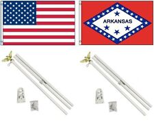 3x5 Usa American & State of Arkansas Flag & 2 White Pole Kit Sets 3'x5'