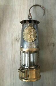 1981 Brass & Steel Protector Lamp & Lighting Eccles Type SL B/120 Miners Lamp