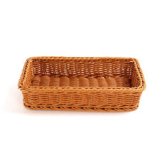 Large Poly Wicker Basket Supermarket Display Bread Storage Serving 45x30x10cm