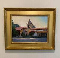 "Exceptional Chuck Mardosz Oil on Canvas Board ""Carmel Afternoon "" Gilt Frame"