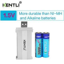 2pcs KENTLI 1.5V AA 3000mWh lithium rechargeable li-polymer batteries+ charger