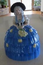 GERMAN FIGURAL LADY WITH BONNET POWDER JAR TRINKET BOX DRESSER DOLL