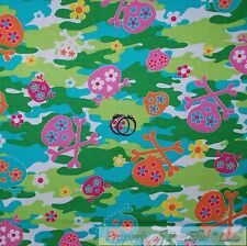 BonEful FABRIC Cotton Quilt Green Pink Blue Camouflage Girl Skeleton Skull SCRAP