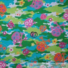 BonEful FABRIC Cotton Quilt Green Pink VTG Camouflage Dot Skeleton Gothic SCRAP