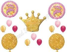 PRINCESS PINK & GOLD CROWN Birthday Party Balloons Decoration Supplies First