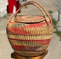 """Vintage 16"""" Egyptian North African Handmade Woven Reed Straw Coil Lidded Basket"""