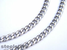MEN'S LINK CHAIN  NECKLACE STAINESS STEEL 316L BRAIDED SILVER JEWELLERY NECKLACE