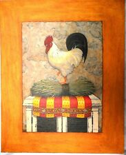 """J. Wiens Original"" Rooster Art Print on Canvas w/ Faux Frame -16""W x 19.5""H"