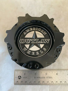 1- American Outlaw Gloss Black Wheel Rim Hub Cover 2 Piece Center Cap BC-894 A B
