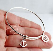 Sterling Silver ANCHOR Travel Strength Bangle Charm Bracelet Adjust Expandable
