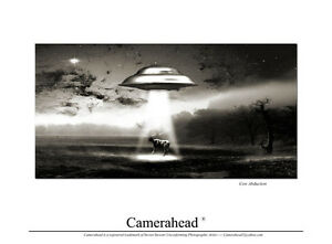 Cow Abduction, Flying Saucers / poster sci fi ufo space ship, Stevev S. 2011