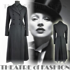 VINTAGE LAURA ASHLEY COAT 12 10 38 36 8 6 BLACK RIDING JACKET VICTORIAN 40s WOOL