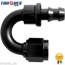 AN -6 (6AN JIC AN6) 180 Degree Push-On Socketless Fuel Hose Fitting Black