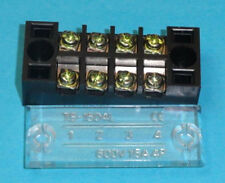 Package of Two (2) 4 Position 15A 600V Terminal Block w/Cover RoHs Free #Tb-1504