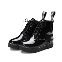 Womens Lace Up Block Heels Patent Leather Combat Ankle Boots  Black Shoes DD