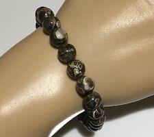Mens Bracelet 925 Solid Silver Turritella Agate Gemstone beads CUSTOM FIT